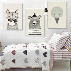 Black and White Nordic Art Posters Paintings for Kids Rooms Decor. Fox, Bear and Ice Cream Art for Nursery Decoratin