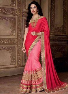 Magenta Pink Embroidery Work Georgette Designer Wedding Bollywood Half Sarees http://www.angelnx.com/Bollywood
