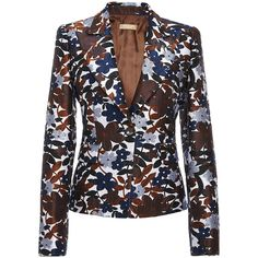 Michael Kors Collection     Structured Blazer (€1.930) ❤ liked on Polyvore featuring outerwear, jackets, blazers, print, structured jacket, blazer jacket, michael kors blazer, flower print jacket and floral blazer
