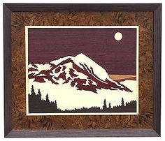 "Crested Butte, CO wood inlay/marquetry. This charming mountain town is located north of Gunnison, CO. As a former mining town, it has found new life as a skiing and mountain biking destination. The woods used in this scene are: Purpleheart, English Sycamore, Bloodwood, Cherry, Wenge and Ebony. Size: 18"" x 21"". Available in other sizes, borders and frames - see website."