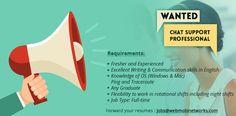 WebMobi is hiring Chat Support Professional Forward your resumes to jobs@webmobinetworks.com  #keralajobs #kochijobs