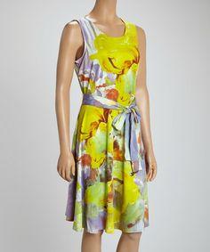 Look at this #zulilyfind! Yellow & Lavender Tie-Waist Sleeveless Dress - Women by Madison Paige #zulilyfinds