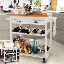 Kitchen Island Trolley bamboo kitchen trolley side table with storage baskets & drawer
