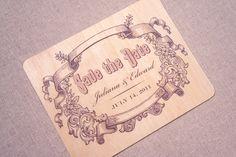 Real Wood Wedding Invitation - Vintage Save the Date. $10.00, via Etsy.