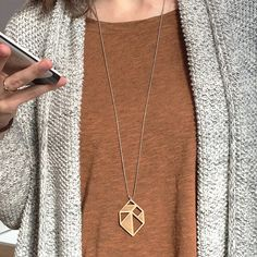 Tangram gem/diamant necklace ~ Laser cut from birch wood ~ Geometric pendant…