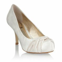 Ivory satin pleated weave court shoes Debut at Debenhams. Bride Shoes, Wedding Shoes, Debenhams Wedding, Shoe Boots, Shoes Heels, Gold Bridesmaid Dresses, Bridesmaids, Court Shoes