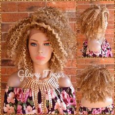 READY To SHIP //Kinky Curly Lace Front Wig, Big Curly Afro Wig, Ombre Blonde Wig, African American Wig, Soft Swiss Lace // BRILLIANT Kinky Curly Wigs, Afro Wigs, Kinky Curly Hair, Curly Hair Styles, Blonde Wig, Blonde Ombre, Curly Lace Front Wigs, Lace Wigs, African American Hairstyles