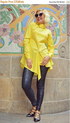 ON SALE 20% OFF Extravagant Lemon Yellow Blouse / Pure by Teyxo