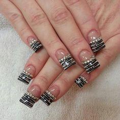 Zebra Bling Nails