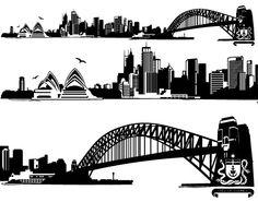 Sydney Skyline Skyline Tattoo, Skyline Art, Skyline Silhouette, Silhouette Art, Tahiti, Sydney Skyline, Paint Vector, City Vector, World Cities