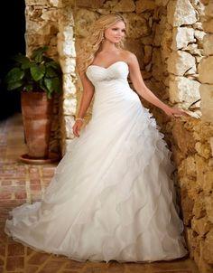 Fashion Wedding Dress Long 2016 A Line Backless Sweetheart Ruffles Plus Size vestido de novia Custom Made Bride Bridal Gown