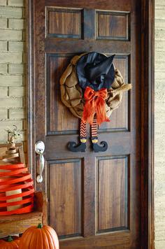 Burlap Witch Legs Door Hanger | Perfect for decorating for Halloween!