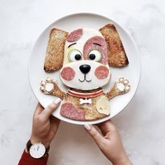Let's give a name to this cute puppy together? Food Crafts, Diy Food, Cute Food, Good Food, Food Art For Kids, Food Kids, Childrens Meals, Breakfast Toast, Food Decoration
