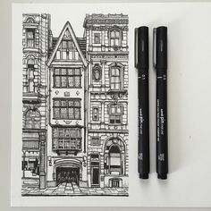 art drawing pen sketch illustration linedrawing london architecture buildings street is part of pencil-drawings - Pen Sketch, Drawing Sketches, Pencil Drawings, Art Drawings, Drawing Ideas, Building Drawing, Building Sketch, Building Art, Building Painting