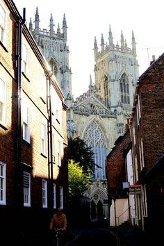 View of The West Door of Medieval York Cathedral from Preceptors Court, York, UK