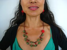 Layered Earthy Green Clay Beads with Red Accent by EGGcessory, $39.95