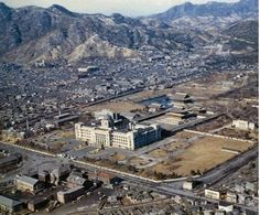 Aerial view of the Japanese Imperial HQ Building and the remains of the Gyeongbok Palace 경복궁(景福宮)의 어제와 오늘 World Country List, Old Pictures, Old Photos, Time In Korea, Seoul Korea, Space Architecture, Historical Images, Old City, Military History