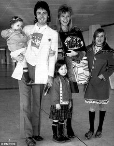 Paul and Linda McCartney with their daughters Stella, Mary, and Heather. 1973.