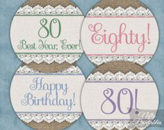 80th Birthday Invitations Black Gold Glitter by NiftyPrintables