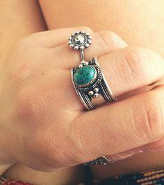 Boho Turquoise band ring - Carved tibetan silver amulet ring gemstone - Boho chic Ethnic jewelry - Tribal Statement Ring - Nepali Gypsy Ring by Meebird on Etsy https://www.etsy.com/listing/225337924/boho-turquoise-band-ring-carved-tibetan