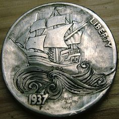 Hobo Nickel 'Sea of Dreams' by Shaun Hughes Hobo Nickel, Coin Art, Metal Engraving, Coin Ring, Challenge Coins, World Coins, Coin Collecting, Skull Art, Silver Coins