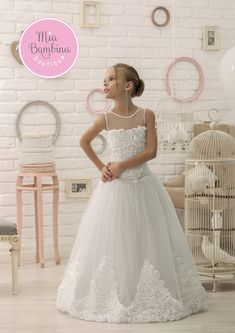 51fc3c89fb First Communion Dresses Sleeveless Floor Length Communion Dress with Fitted  Lace Bodice