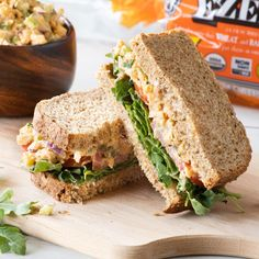 What's your favorite vegetarian sandwich filling? We're partial to a delicious chickpea salad, but want to hear your ideas! Vegetarian Sandwich Fillings, Flourless Bread, Ezekiel Bread, Healthy Sandwiches, Chickpea Salad, Bread Recipes, Sprouts, Diet, Food
