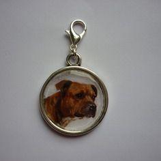 Breloque - bijoux de sac - porte clefs - chien - american staff  DIY