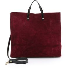 Clare V. Suede Simple Tote ($505) ❤ liked on Polyvore featuring bags, handbags, tote bags, oxblood, suede tote, red tote, red purse, suede handbags and suede purse