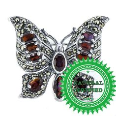 Authentic Rare Natural Red Africa Garnet Vintage Butterfly Brooch 925 Silver $95 + shipping