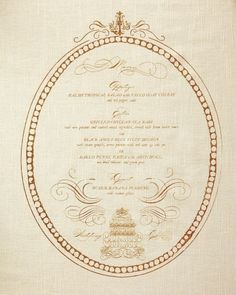 Menu-napkins, embellished with an illustration of the couple's cake