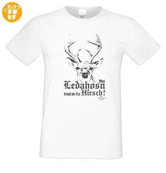 Wiesn T-Shirt - Mei Ledahosn trogt no da Hirsch - lustiges Spruch Shirt ideal für's Oktoberfest statt Lederhose und Dirndl - T-Shirts mit Spruch | Lustige und coole T-Shirts | Funny T-Shirts (*Partner-Link)