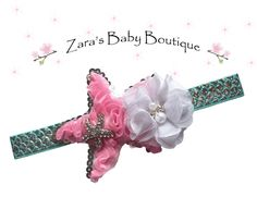 Mermaid Headband * Starfish Headband * Pink White Mint Green * Flower Headband * Multi-Color  * Baby * Girls * Zara's Baby Boutique by ZarasBabyBoutique on Etsy