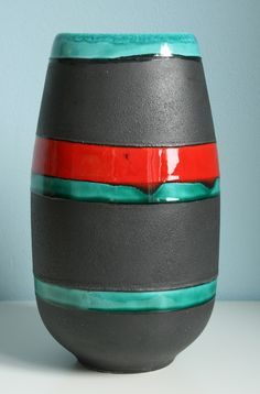 SMF Schramberg Majolika Fabrik vase, height: ca. 25 cm, design: Elfi Stadler. WGP West German Pottery.