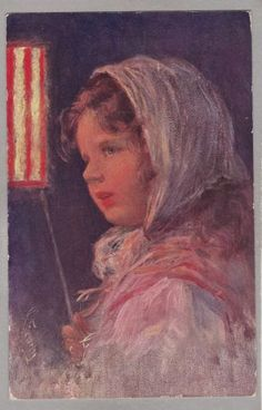 Little-Girl-With-Lantern-Artist-Signed-Karl-Feiertag-c1912-Printed-Austria