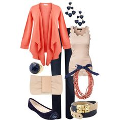 """""""Navy and Coral"""" by maggiesuedesigns on Polyvore"""