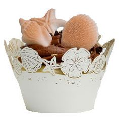 Cupcake Wrapper Sea Shells  $12.00 http://www.fancyflours.com/product/Cupcake-Wrapper-Seashells/beach-themed-cupcake-wrappers
