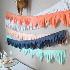 These fringed tissue banners are customized to their colors, length and fringed cut designs. Choose between, scalloped, triangle and straight edge cut. Birthday Party Decorations, Birthday Parties, Cheap Party Decorations, Diy Birthday Banner, Diy Banner, Wedding Decoration, Diy Girlande, Fiesta Party, Abc Party
