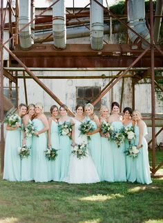 aqua bridesmaid dresses - photo by Brandi Smyth http://ruffledblog.com/industrial-wedding-in-shreveport