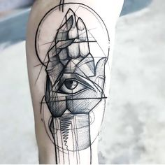 A weird spiritual tattoo in sketch style. A hand with an eye inside. Style: Sketch. Color: Black. Tags: Amazing