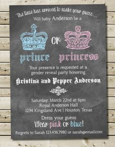 Prince or Princess Gender Reveal Invitation, Royal Gender Reveal, Color Chalkboard Baby Gender Reveal Invitation 5x7 - Custom Printable on Etsy, $12.00
