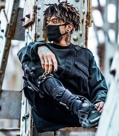 by Trap In Trap💸 from desktop or your mobile device Mode Cyberpunk, Cyberpunk Fashion, Mode Streetwear, Streetwear Fashion, Streetwear Jeans, Streetwear Summer, Urban Fashion, Mens Fashion, Dreadlock Hairstyles