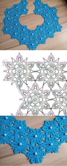 Crochet Collar Pattern, Col Crochet, Crochet Flower Patterns, Crochet Diagram, Crochet Chart, Crochet Motif, Irish Crochet, Crochet Designs, Crochet Doilies