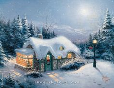"""When Thomas Kinkade painted """"Silent Night"""" in 1992, he was inspired by the classic Christmas song of the same name, creating art that evoked an image of a quiet village awaiting the birth of Jesus Christ. In his own words, he wanted to highlight """"the message of hope and peace that is the true meaning of Christmas as illustrated in the Savior's birth""""."""