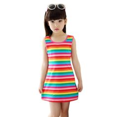 b50563fa962 Cute Girls Stripe Sleeveless Rainbow Cotton Summer Dress Price  9.99   FREE  Shipping  hashtag1