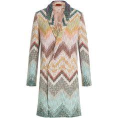 Missoni Wool Coat ($4,370) ❤ liked on Polyvore featuring outerwear, coats, multicolor, missoni coat, colorful coat, print coat, slim coat and missoni