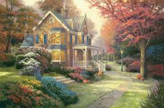 Thomas Kinkade Victorian Autumn painting for sale - Thomas Kinkade Victorian Autumn is handmade art reproduction; You can buy Thomas Kinkade Victorian Autumn painting on canvas or frame. Kinkade Paintings, Art Paintings, Autumn Painting, Diy Painting, Autumn Art, Pintura Colonial, Thomas Kinkade Art, Thomas Kincaid, Art Thomas
