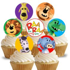 14x EDIBLE Raa Raa the Noisy Lion Cupcake Toppers birthday party 4cm wafer