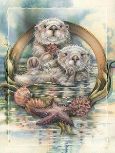 Bergsma Gallery Press :: Paintings :: Sea Life :: Otters :: Stars Of The Sea - Print Illustrations, Illustration Art, Otter Tattoo, Sea Otter, Tier Fotos, Animal Totems, Wildlife Art, Native American Art, Spirit Animal
