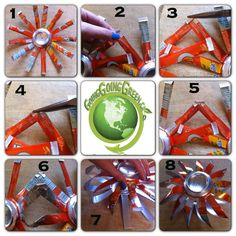Give new life to your waste soda can and create your own homemade Christmas ornaments. Handmade ornaments also make great gifts. Aluminum Can Crafts, Metal Crafts, Recycled Crafts, Recycled Clothing, Recycled Fashion, Wind Spinners, Pop Can Crafts, Diy And Crafts, Pop Can Art